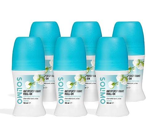 Marca Amazon - Solimo Roll-on antitranspirante, protección activa, con perfume de algodón recién lavado, unisex, Paquete de 6 (6 x 50 ml): Amazon.es: Belleza