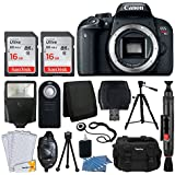Canon EOS Rebel T7i Digital SLR Camera (Body Only) + 32GB Memory Card + Slave Flash + Quality Tripod + Camera Bag + USB Card Reader + Wireless Remote + 3 Piece Cleaning Kit - Deluxe Accessory Bundle