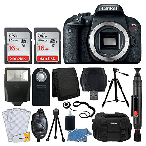 Canon EOS Rebel T7i Digital SLR Camera (Body Only) + 32GB Memory Card + Slave Flash + Quality Tripod + Camera Bag + USB Card Reader + Wireless Remote + 3 Piece Cleaning Kit - Deluxe Accessory Bundle by PHOTO4LESS