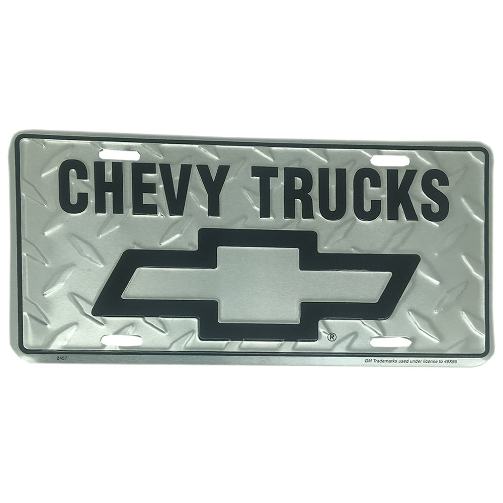 Chevy Trucks Diamond Embossed background metal auto tag 6 x 12 Tag City