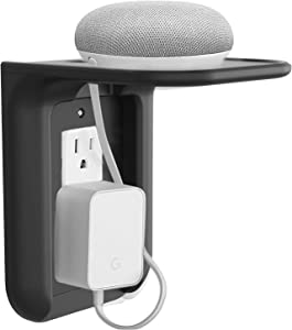 WALI Wall Shelf Standard Vertical Duplex Décor Outlet with Cable Channel Charging for Cell Phone, Dot 1st and 2nd 3rd Gen, Google Home, Speaker up to 10 lbs (OLS001-B), 1 Pack, Black