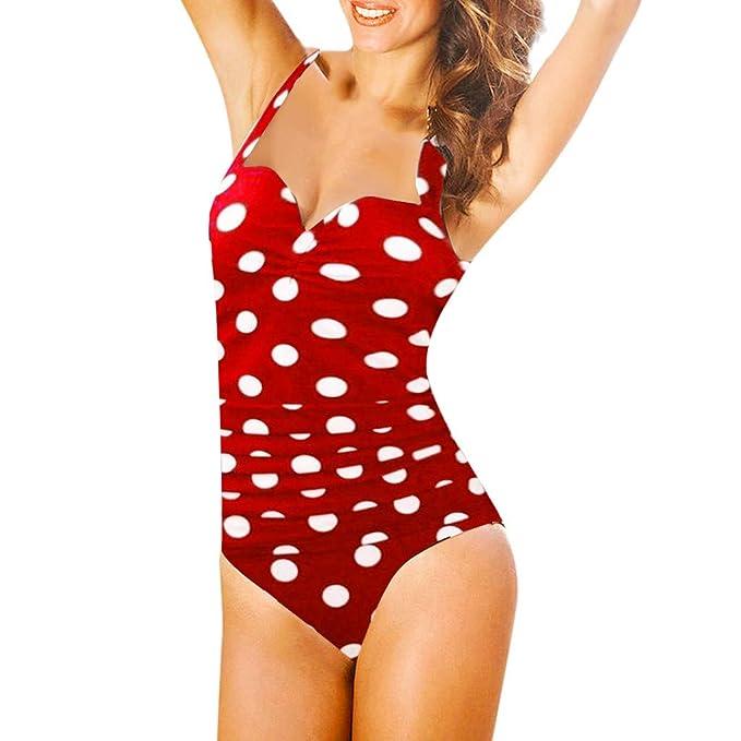 Quelife Trajes de baño de UNA pieza para Mujer Dot Monokini ...