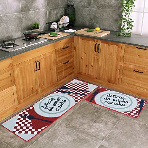 Carvapet 2 Piece Kitchen Mat No Rubber Backing Doormat Runner Rug Set, Dish Design (Red 19