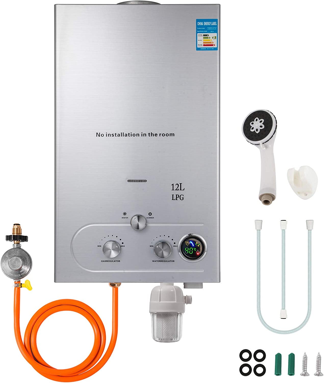 VEVOR 12L LPG Calentador de Agua Gas Propano Sin Tanque Calentador de Agua Gas Natural Caldera Instantánea Baño Ducha Calentador de Agua Instantáneo Propane Gas Hot Water Heater