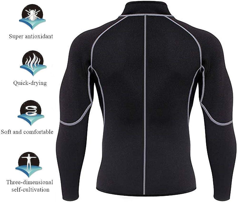 LASPERAL Hommes N/éopr/ène Sauna Manches Longues Fitness Thermo Shapewear Hauts De Formation Compression