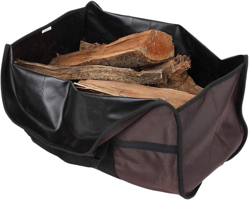 Cabilock bolsa de asas para leña portador de leña grande accesorios de la estufa de la chimenea bolsa de asas duradera de alta resistencia para el almacenamiento de la chimenea de transporte