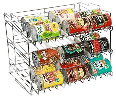 Amtido - Soporte de latas apilable de 3 niveles - Organizador de cocina para alimentos enlatados - acabado cromado: Amazon.es: Hogar