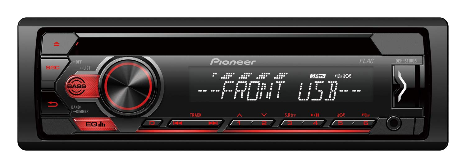 Pioneer DEH-S110UB Car Radio USB CD Receiver Car Radio with Front AUX-In Remote App Control for Android RDS Radio High Level Car HiFi Black