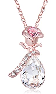 Opal Stone Clover Necklace Rose Gold Plated Swarovski Elements Crystal 4 Leaf Flower Necklace Pendant for Women XsPfp