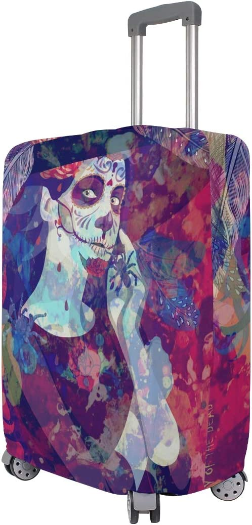 Sugar Skull Dia De Los Muertos Luggage Cover Travel Suitcase Protector Fits 18-21 Inch Luggage