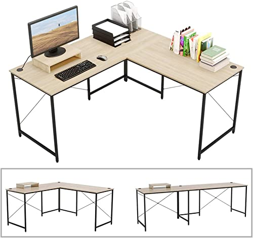 Bestier L-shaped computer desk, 95.5 Two Person Large Gaming Office Desk, Adjustable L-Shaped or Long Desk Two Method with Free Monitor Stand, Home Writing Desk Double Table Build-in Cable Management