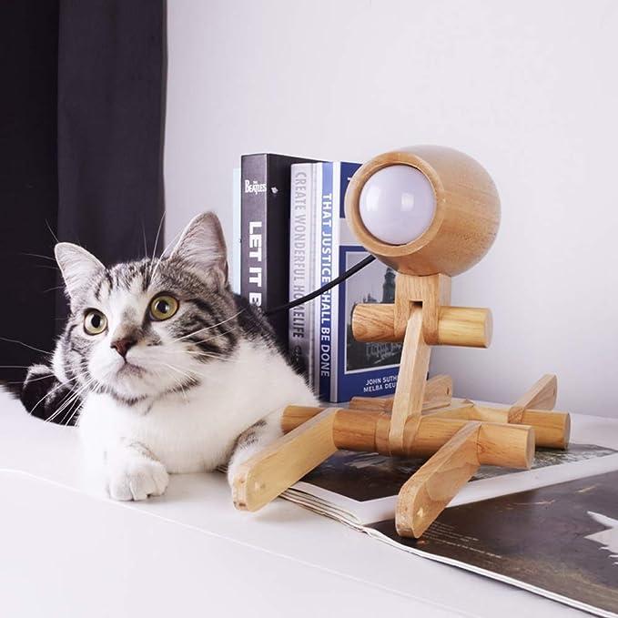 Hoovo Máquina de Madera Creativa Lámpara de Mesa para Perros Lámpara de Mesa Plegable Luz de Lectura en el Lado de la Cama para los Niños de la Oficina del ...