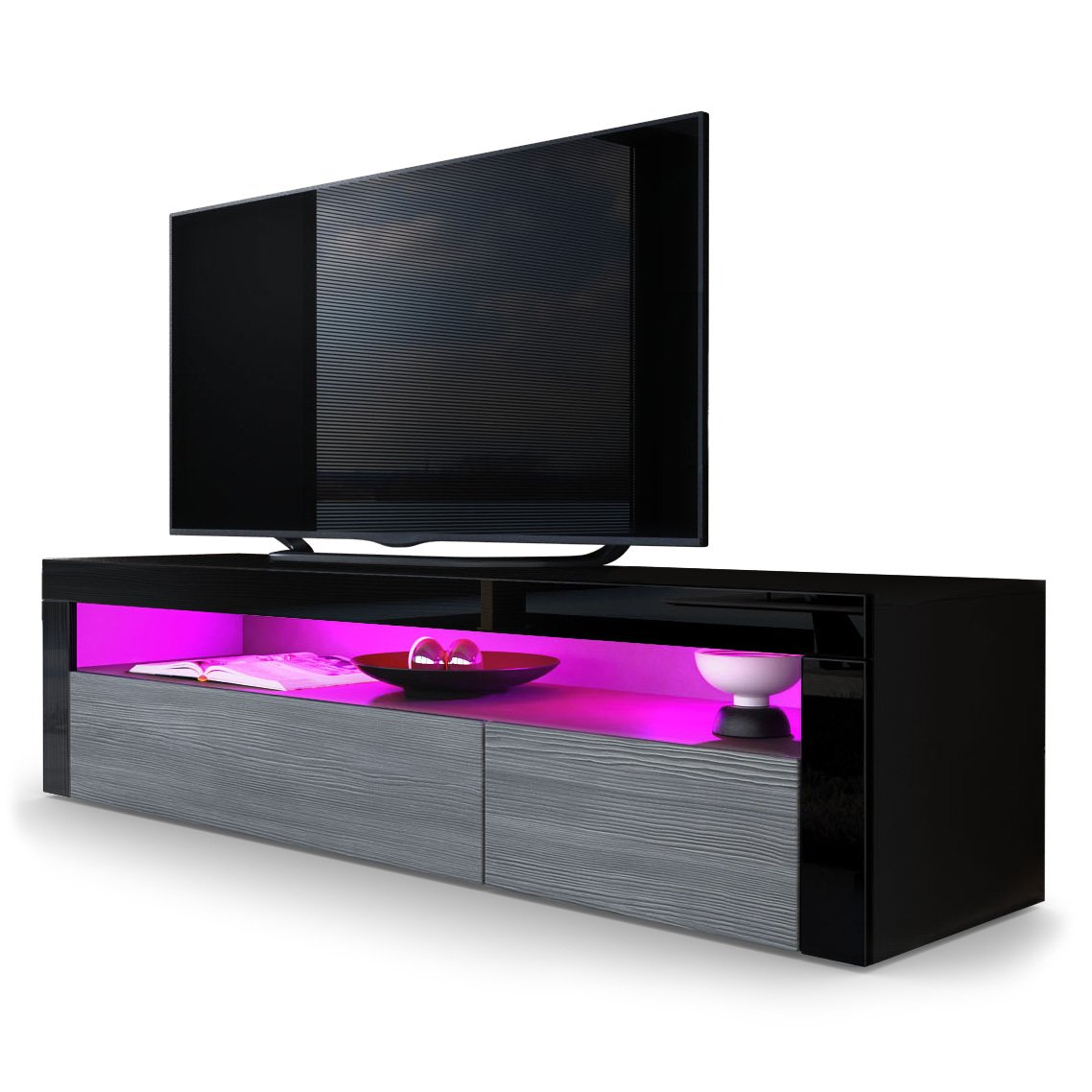 Avola-anthracite   Black High Gloss TV Unit Valencia Vladon TV Stand Unit Valencia, Carcass in Black matt Front in Black High Gloss a frame in Black High Gloss