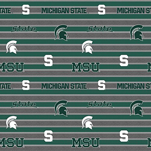 MICHIGAN STATE FLEECE BLANKET FABRIC-MICHIGAN STATE SPARTANS FLEECE FABRIC WITH AWESOME POLO STRIPE=SOLD BY THE YARD