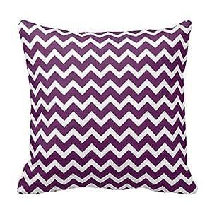 Purple Chevron Pillow Covers 16x16 Inch Square Cotton Throw Pillow Case Decor Cushion Covers