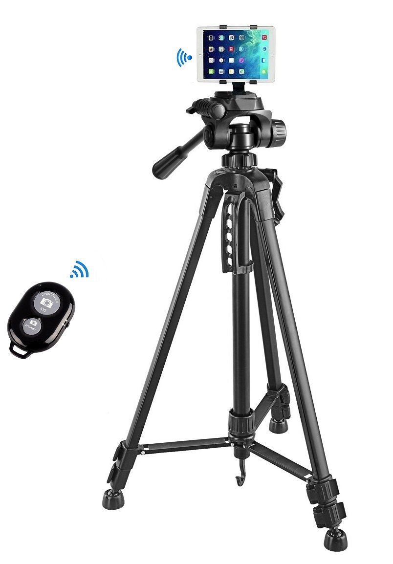 55'' inch Camera Tripod+Tablet Mount Holder+Bluetooth Remote Control Shutter for iPad pro 9.7,iPad air 2 1,iPad 4 3 2,iPad Mini 4 3 2 1 by Bulk4buy