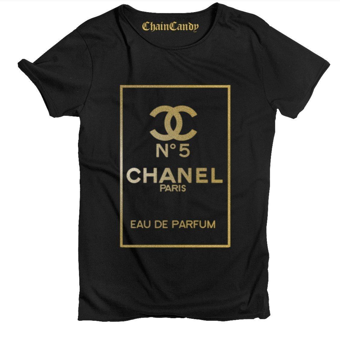 Designer Purfume T shirt- Black/Gold