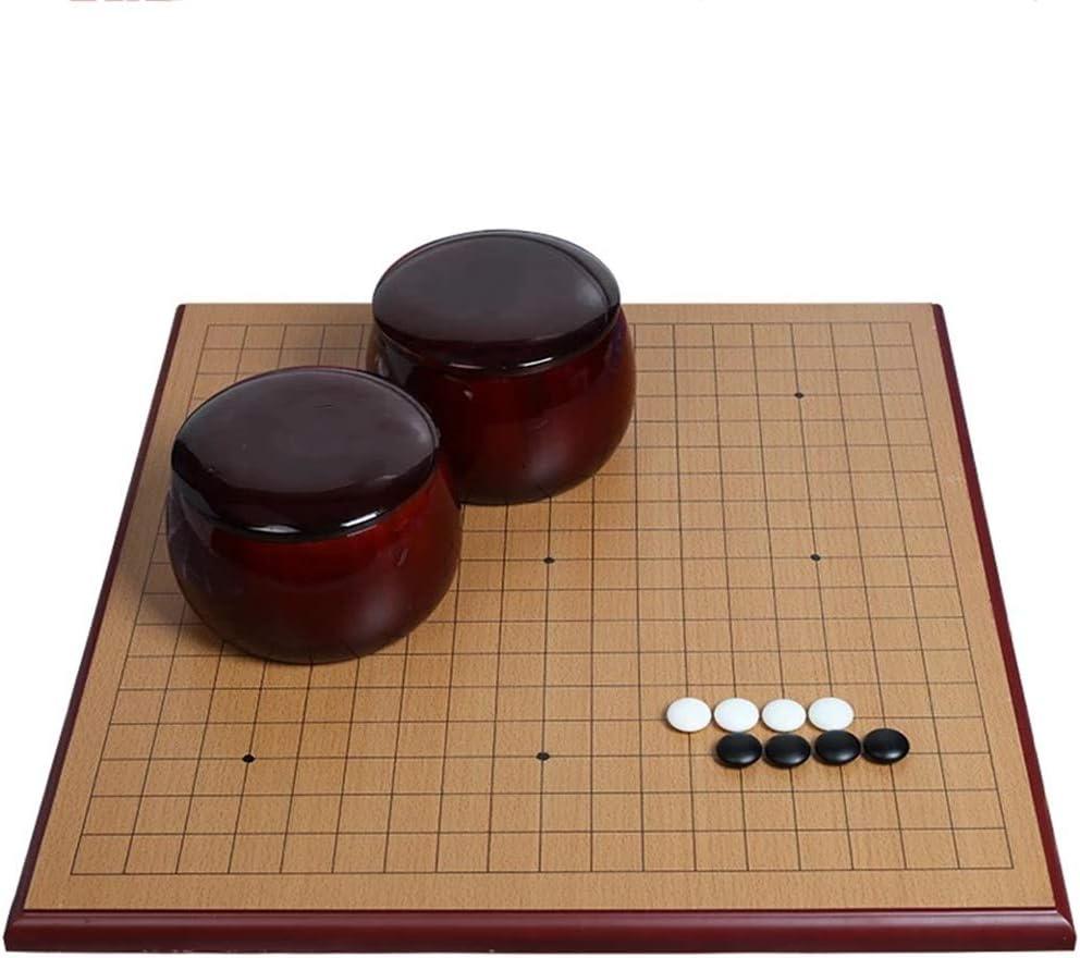 Va el Juego y ajedrez Chino Conjunto de Dos Caras Tablero de Go Conjunto Chino Weiqi for Dos Jugadores Junta de Estrategia de Juego de 19 x 19 Go Sistema Incluye Cuencos (