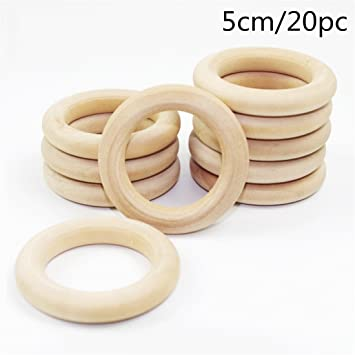 20pc Unfinished Wood Rings Natural Maple 2 Inch Wood Rings For Crafts Rattles Baby Toys