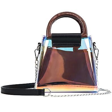 20d1c5abc Amazon.com: Womens Hologram Tote Handbags Mini Holographic Clear Crossbody  Purse Black: Shoes