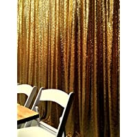 Gold Backdrop Curtain 7FTx7FT Shimmer Sequin fabric Photography Backdrop Shower Curtain Set