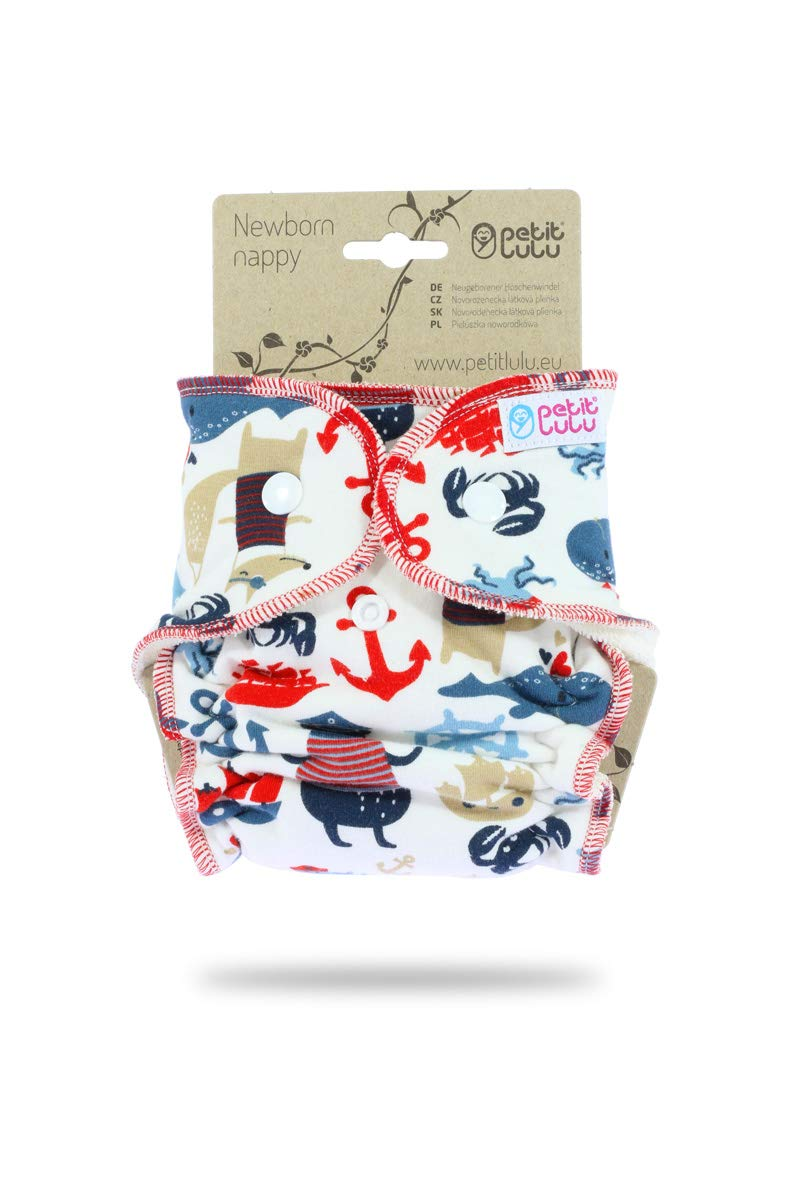 Made in Europe Outer Material 95/% Cotton Snaps Cherries Petit Lulu Bamboo Fitted Newborn Diaper 5/% Elastane Reusable /& Washable