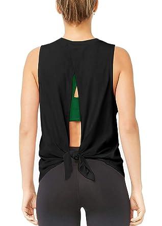 62f815e2d93 Muzniuer Women's Open Back Workout Tank Cute Yoga Active Gym Top Workout  Shirts Activewear Open Back