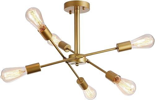 Gold Sputnik Chandelier 6 Lights Mid Century Pendant Brushed Gold Small Light Fixture