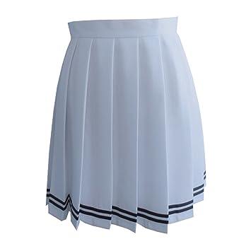 Butterme donne beilaeufige alto Sfiancata piegati Cosplay costumi gonne Scuola Uniforme a Line Mini Vestito nero Nero xs