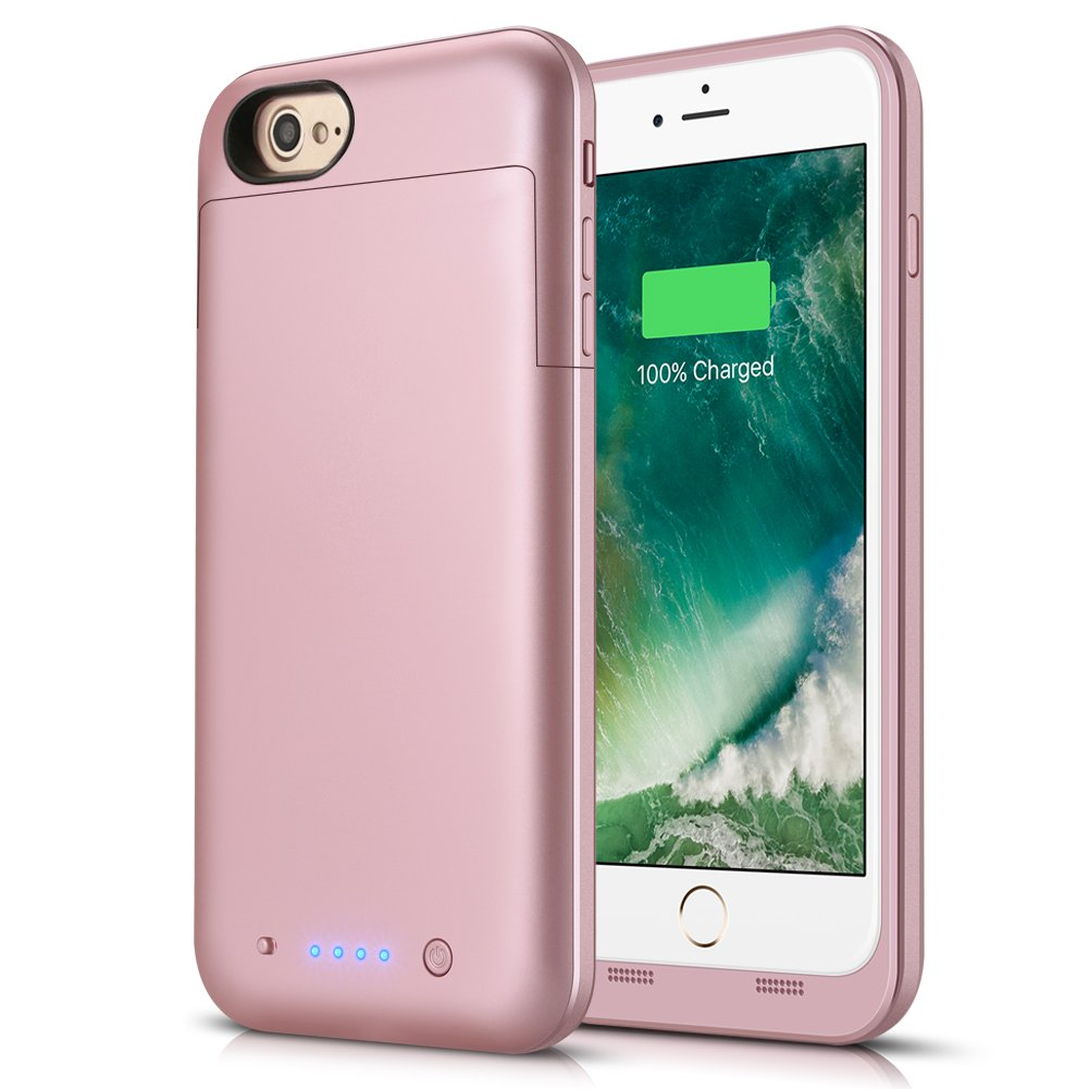iPhone 6s Plus/6 Plus Battery Case, 6800mAh Rechargeable Charger Case Portable External Battery Pack for iPhone 6s Plus/6 Plus Protective Charging Case Apple Battery Power Bank (Rosegold)
