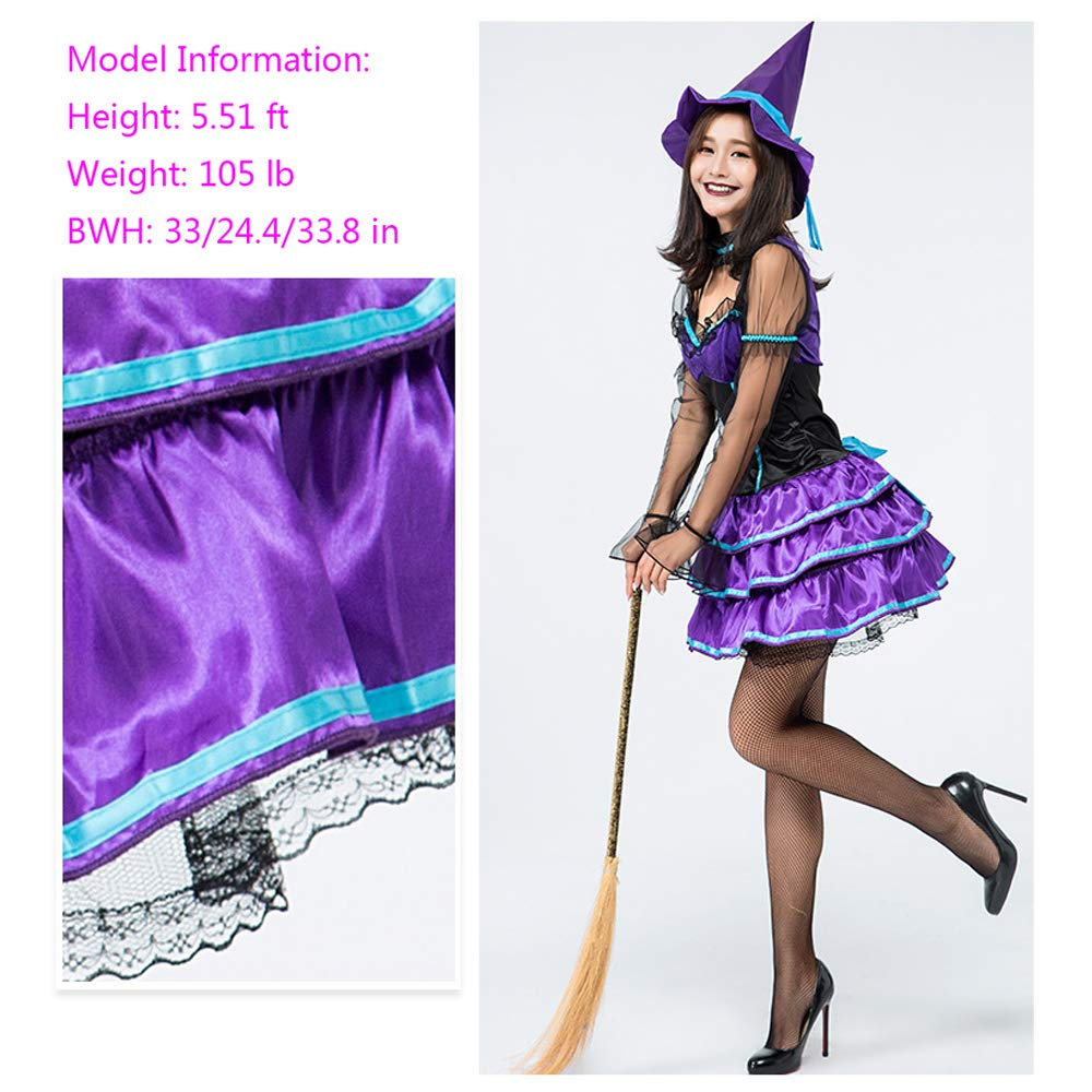 Amazon.com  Honfill Women Witch Costume Purple Skirt with Magician Dress Hat   Clothing 7759968d17
