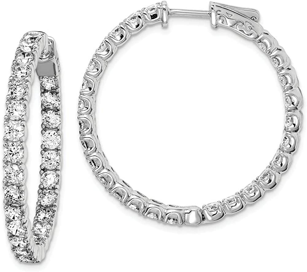 925 Sterling Silver Rhodium-plated CZ In /& Out Hinged Hoop Earrings