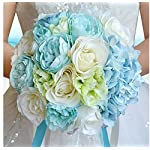 18PCS-Western-style-American-Hawaii-seaside-Sandy-beach-wedding-Church-wedding-bride-toss-bouquet-Bridesmaid-flower-girl-ivory-blue-bouquets