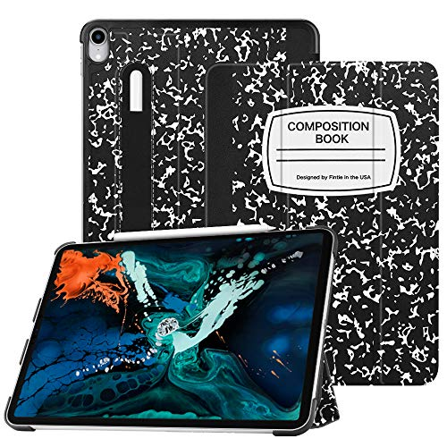 Fintie SlimShell Case for iPad Pro 12.9 3rd Gen 2018 [Supports Apple Pencil 2nd Gen Charging Mode] - Lightweight Stand Cover with [Secure Pencil Holder] Auto Sleep/Wake, Composition Book Black