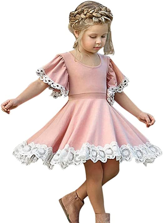 Toddler Baby Girls Kids Summer Short Sleeve Cute Party Long Dress Split Dresses