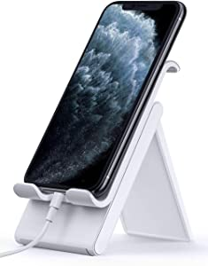 Lamicall Adjustable Cell Phone Stand - Foldable Phone Holder Cradle for Desk, Desktop Charging Dock Compatible with iPhone 11 Pro XS Max XR X 8 7 6S Plus 6 Galaxy S10 S9 S8 Smartphones - Gray