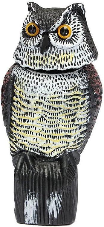 ounona Control de plagas repellents búho señuelo con cabeza giratoria espantapájaros para jardines, asusta a los pájaros y las plagas