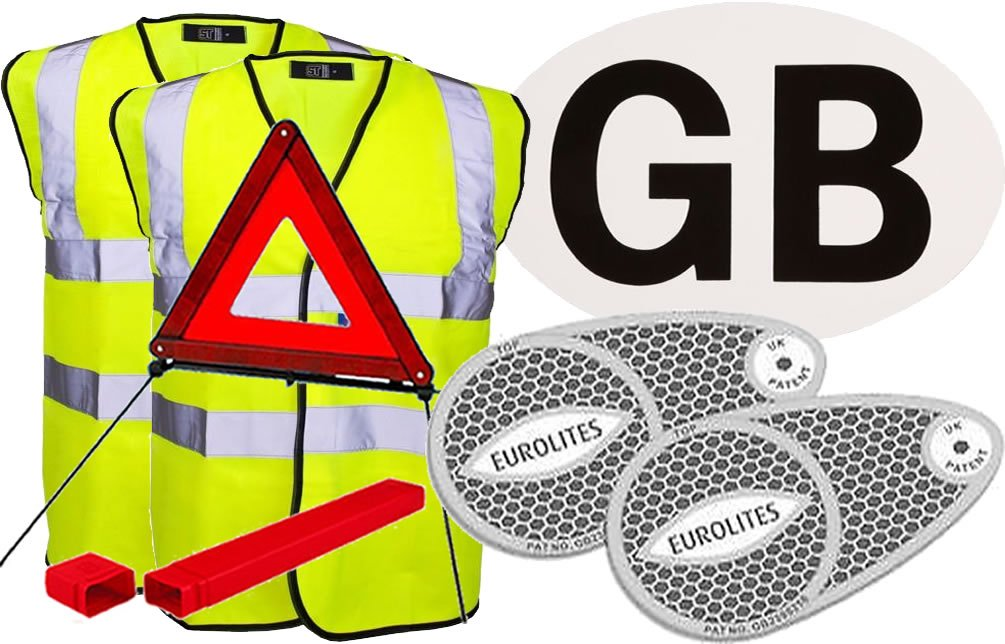 European Travel Kit 2 (2 x Hi-Vis Jacket, Adhesive GB Sticker, Pair of Beam Benders, Warning Triangle) Fastcar