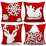 Decorative Pillow Cover - Christmas Pillows Covers 18 X 18 Christmas Décor Embroidery Throw Pillow Cases Christmas Decorative Cotton Pillow Covers Set of 4 Sofa Home Décor