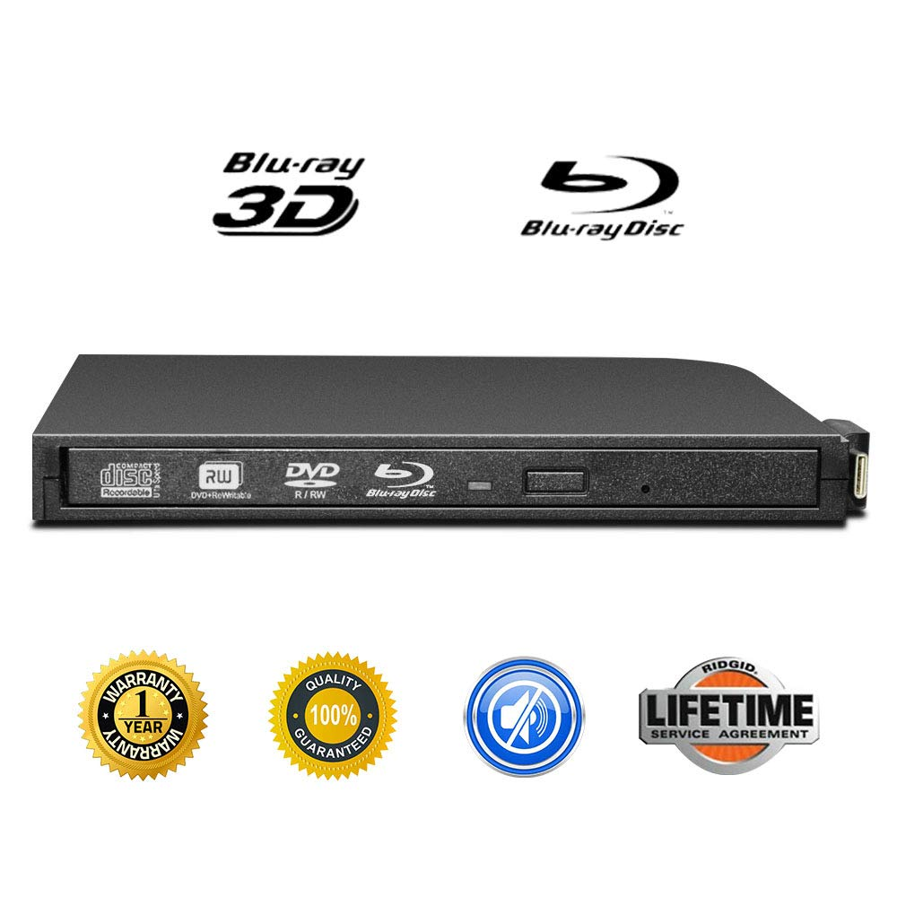 External Blu-ray DVD Drive Portable USB 2.0 3D Blu-ray CD Burner Ultra-Thin USB 3.1 Type-C USB-C External Blu-ray DVD CD Player BD-ROM Superdrive for PC Computer Desktop (Black-)
