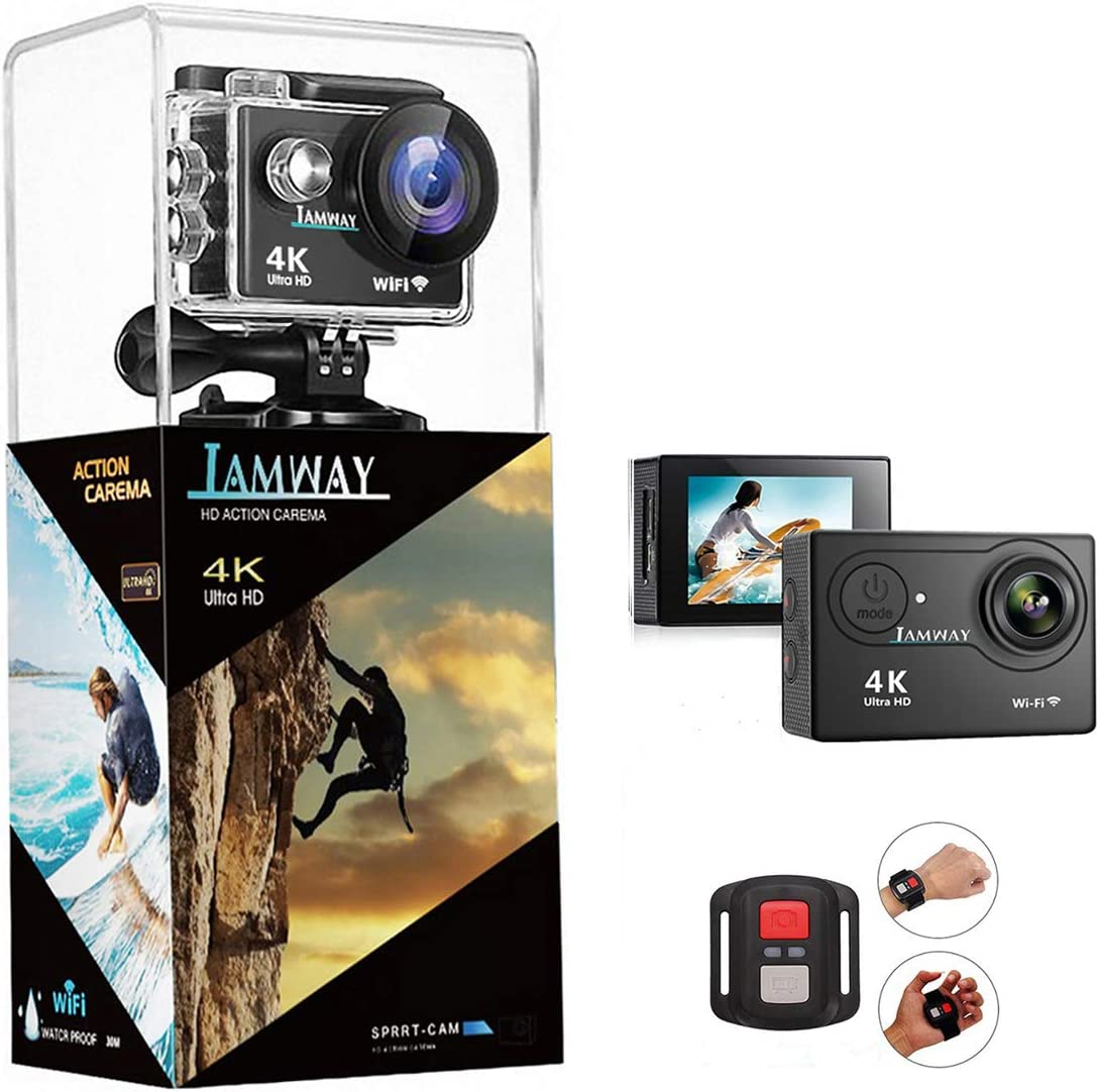 4K Action Camera,Full HD Waterproof DV Camcorde, 2.0 Inch LCD 170 Wide Angle WiFi Sports Cam with Remote and Mounting Accessories Kit