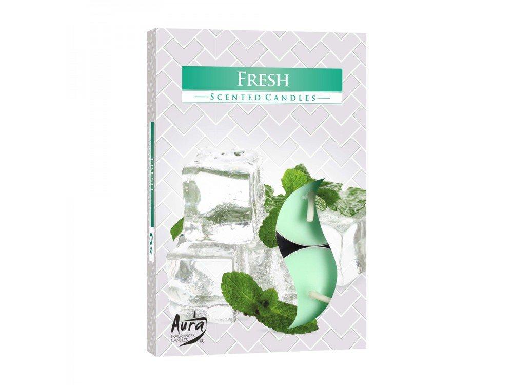 GIRM® - HX922310 Candele profumate , di paraffina, all'aroma di menta fresca. Set 6 Pezzi - Tealight Profumatore per ambiente. Candele odorate per la casa . Aromaterapia AB.M