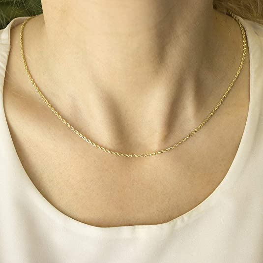 Details about  /New Pure 18K Multi-tone Gold 2mm Rope Link Chain Necklace 45cm Length
