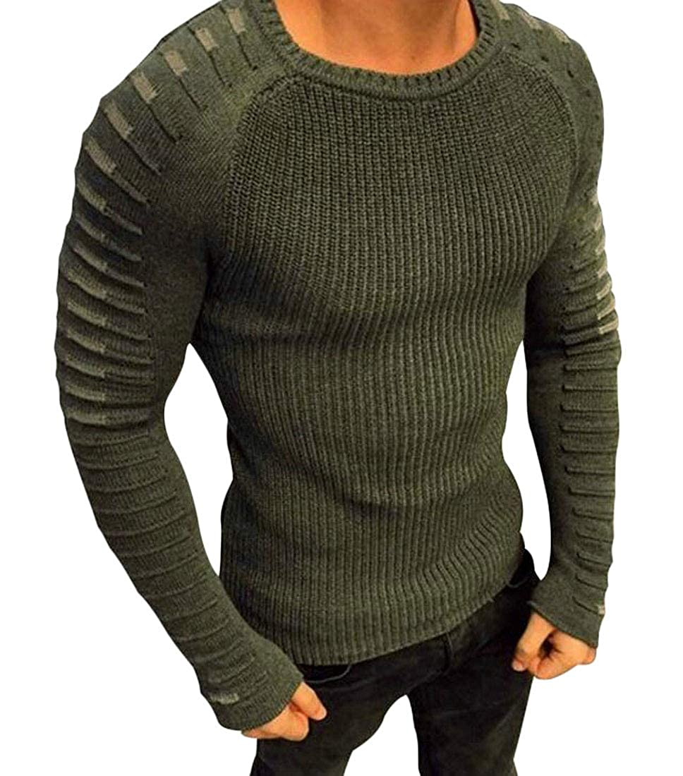 UUYUK Men Slim Fit Long Sleeve Crew Neck Knit Pullover Sweater