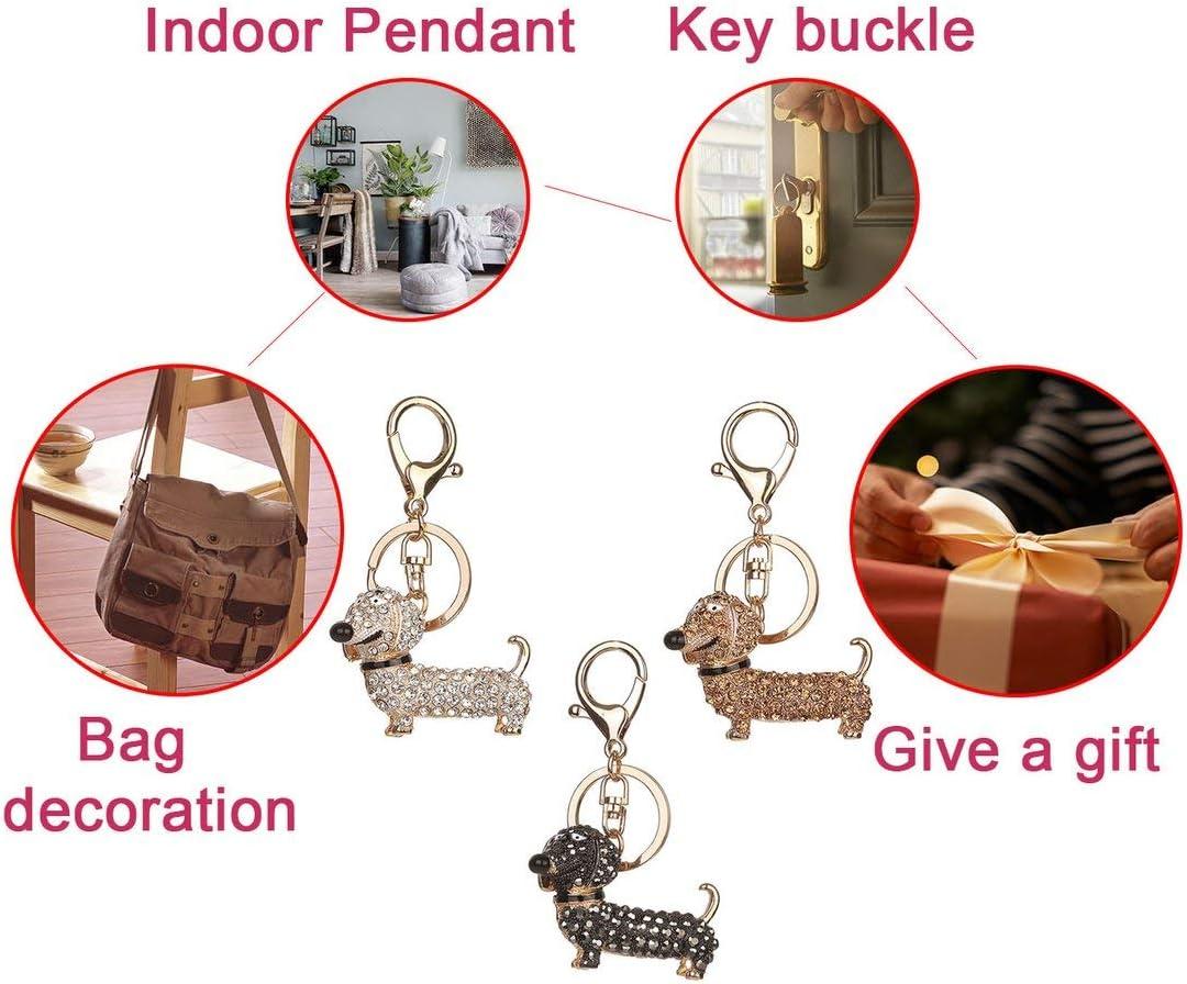 Detectorcatty Diamond Cute Puppy Keychain Bag Keyring Pendant Hanging Ornaments Decor BZ370 Essential Accessories