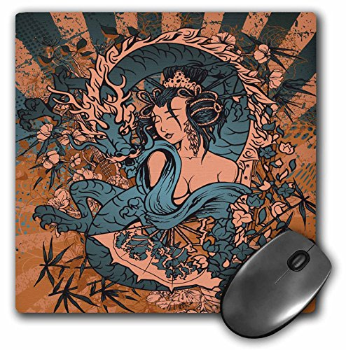 (3dRose LLC 8 X 8 X 0.25 Inches Beautfiul Grunge Style Japanese Geisha Girl Woman and Dragon Oriental Asian Design Mouse Pad (mp_119074_1))