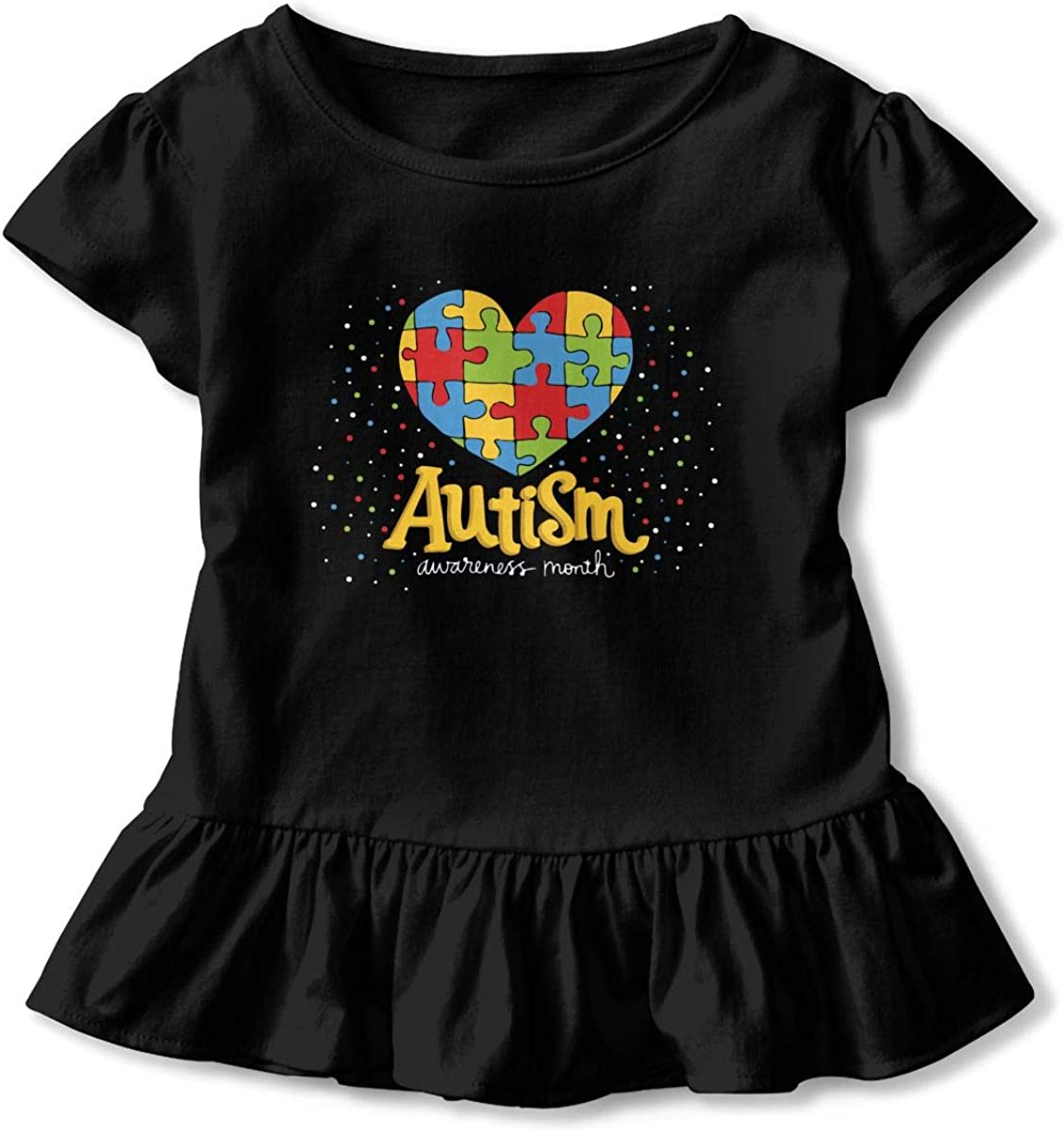 Cheng Jian Bo Show Your Support and Help About Autism Toddler Girls T Shirt Kids Cotton Short Sleeve Ruffle Tee