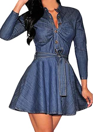 Frauen Jeanskleider Cocktailkleid Elegant Kurz Langarm V Ausschnitt