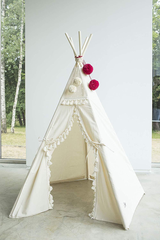 Boho style kids tipi, childrens teepee tent, kids teepee tent, play tent, teepee for kids, beige color playhouse 100% handmade! by MINICAMP (Image #5)