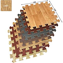 Sorbus Wood Floor Mats Foam Interlocking Wood Mats Each Tile 1 Square Foot 3/8-Inch Thick Puzzle Wood Tiles with Borders – for Home Office Playroom Basement (16 Tiles 16 Sq ft, Wood Grain - Light)